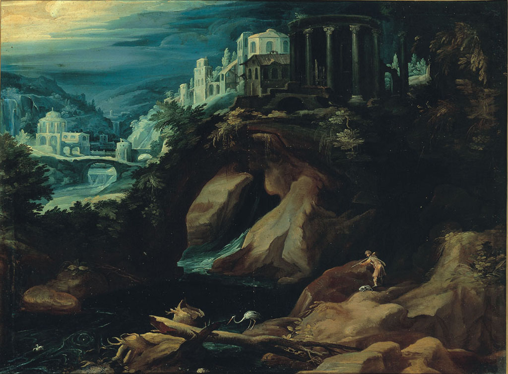 Landscape with a Classical Temple and a Hunter