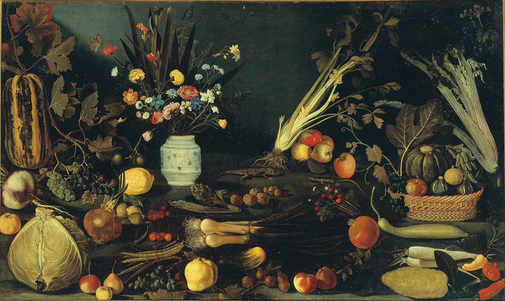 Vase of Flowers, Fruit, and Vegetables