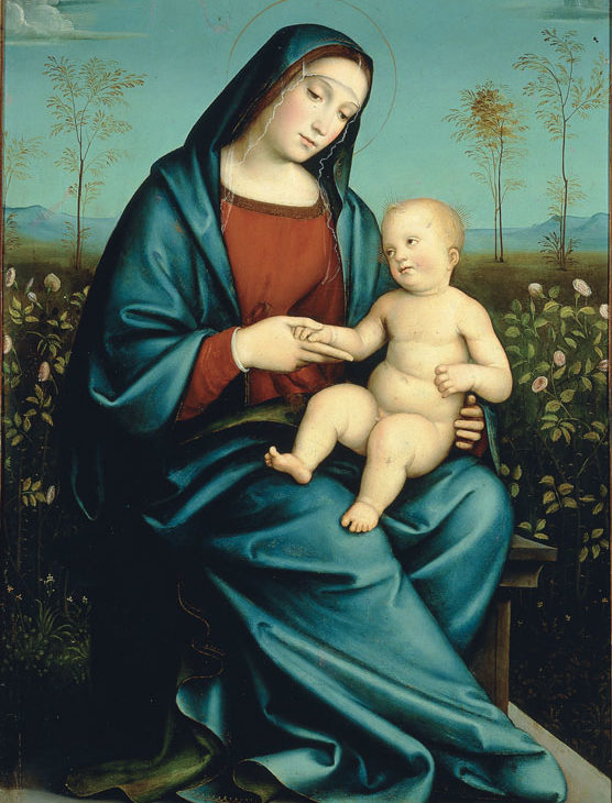 Madonna with Child in the Rose Garden