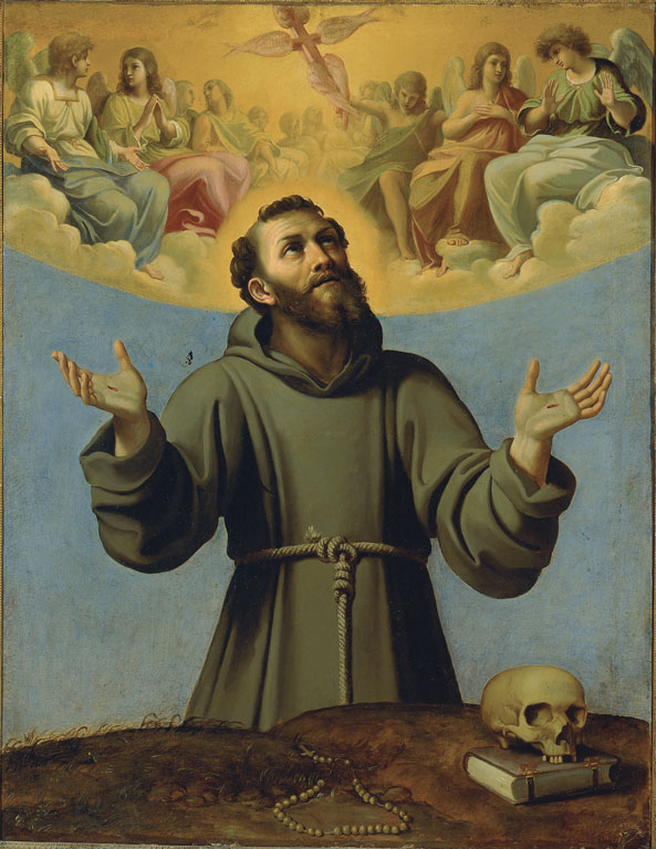 Stigmatised Saint Francis of Assisi in a Glory of Angels