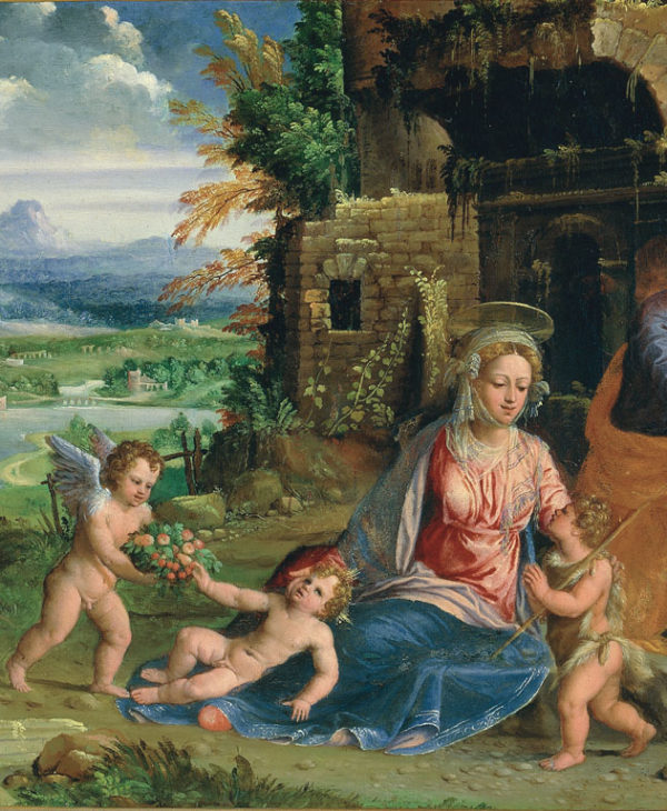 Holy Family with The Infant Saint John the Baptist and angels