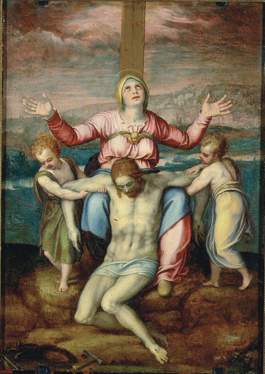 Deposition of Christ with Madonna and two angels