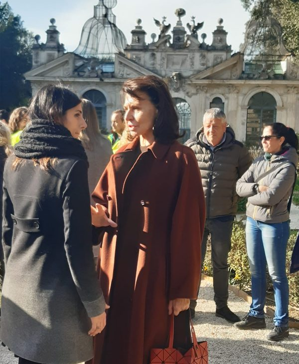 The mayor of Rome, Virginia Raggi, visiting the Borghese Gallery and the Secret Gardens