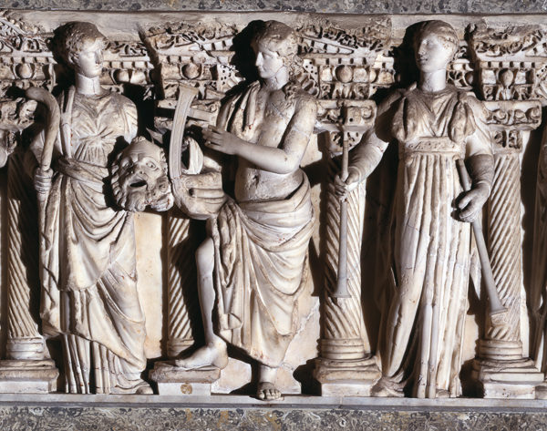 Sarcophagus lid with five Muses