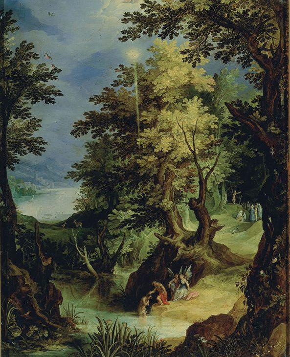 Paesaggio con Battesimo di Cristo e predica del Battista