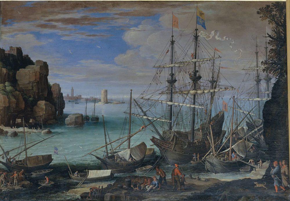 Veduta di un porto di mare