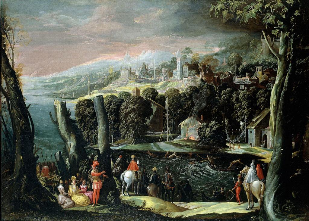Paesaggio con figure di dame e cavalieri