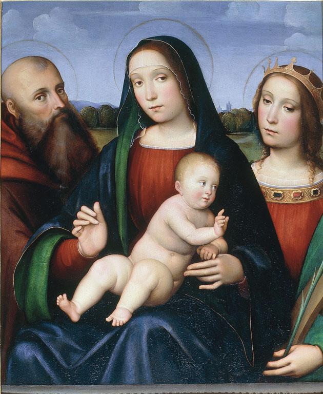 Madonna con Bambino tra i santi Antonio abate e  Caterina d'Alessandria