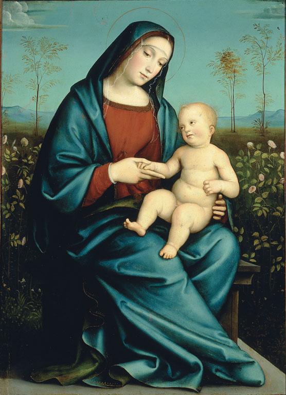 Madonna con Bambino nel giardino di rose