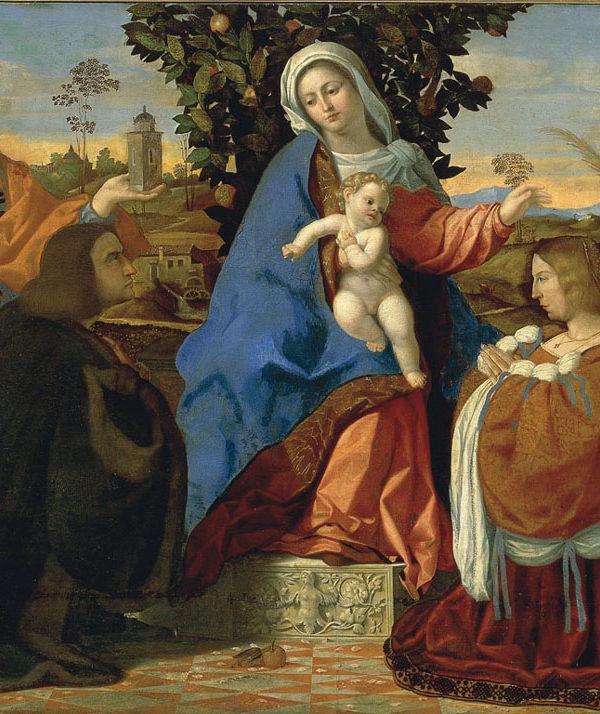 Madonna con Bambino le santa Barbara e Cristina e due committenti