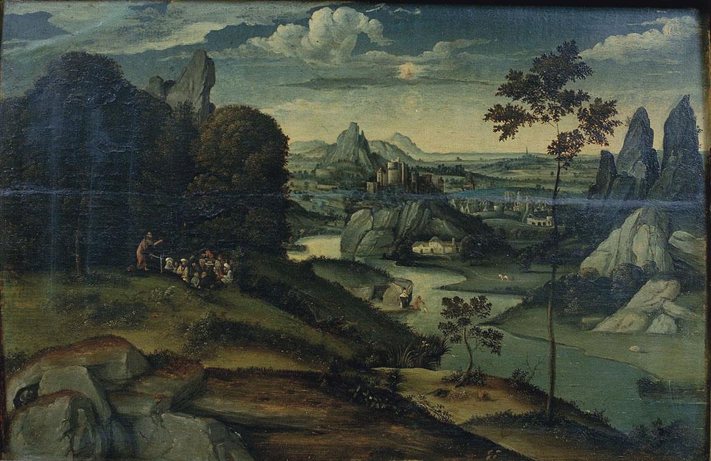 Paesaggio con predica di san Giovanni Battista e Battesimo di Cristo