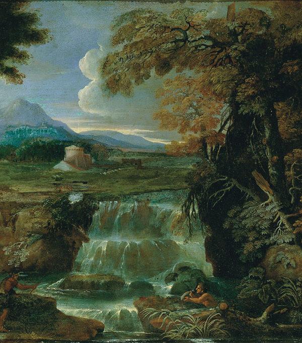 Paesaggio con cascata