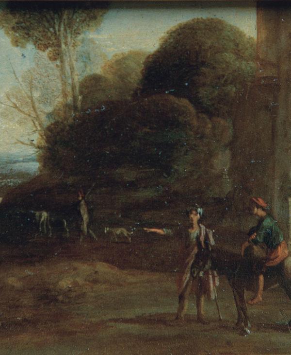 Paesaggio con pastori e cavalieri