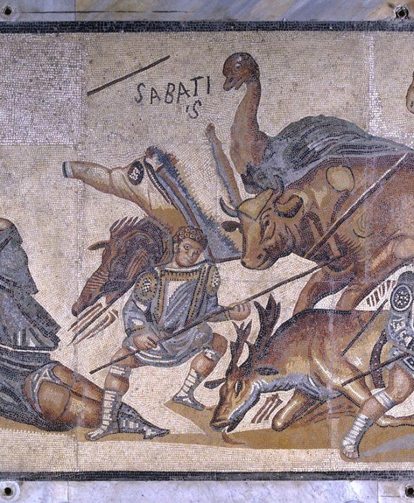 Mosaico pavimentale con gladiatori e cacciatori