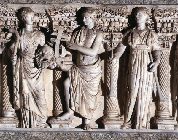 Fronte di sarcofago con la raffigurazione di cinque muse