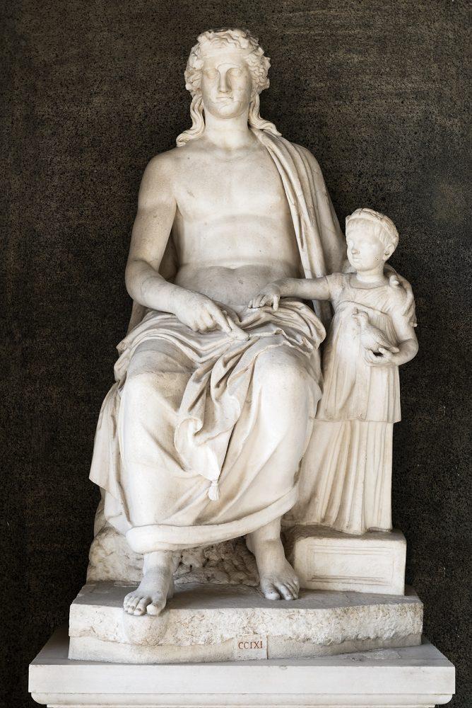 Figura maschile seduta con figlia